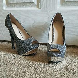 Silver &Grey Platform peep toe high heels NWOB10
